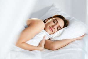 Sleep.,Young,Woman,Sleeping,In,Bed.,Portrait,Of,Beautiful,Female